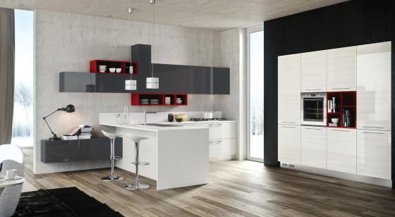 Diseño de cocina moderna con estilo popular