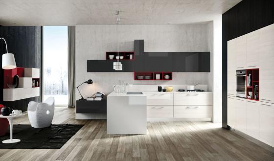 Diseño de cocina moderna con estilo pop en color blanco y negro