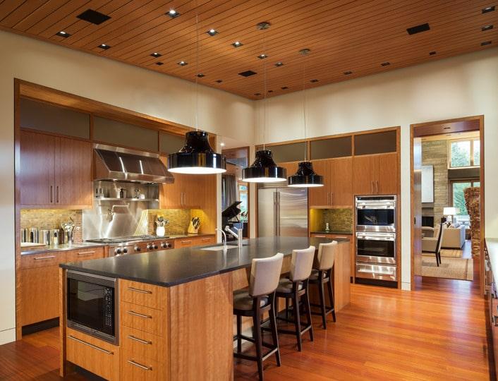 Dise o de moderna casa de campo en madera y piedra for Cocinas modernas apartamentos