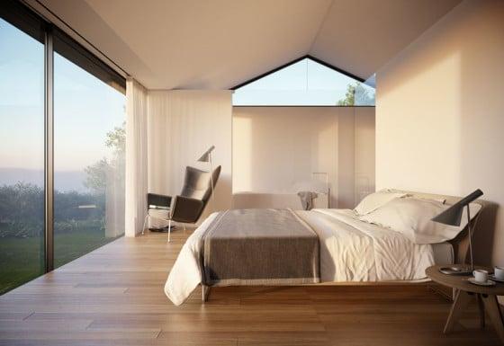 Diseño de dormitorio principal con vista al campo