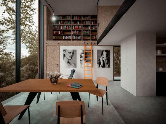 Diseño de estudio con mezzanine en casa moderna