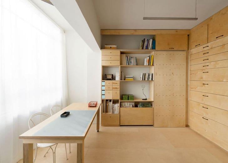 Dise o de mueble modular con cajones apartamento peque o for Apartamentos de diseno pequenos