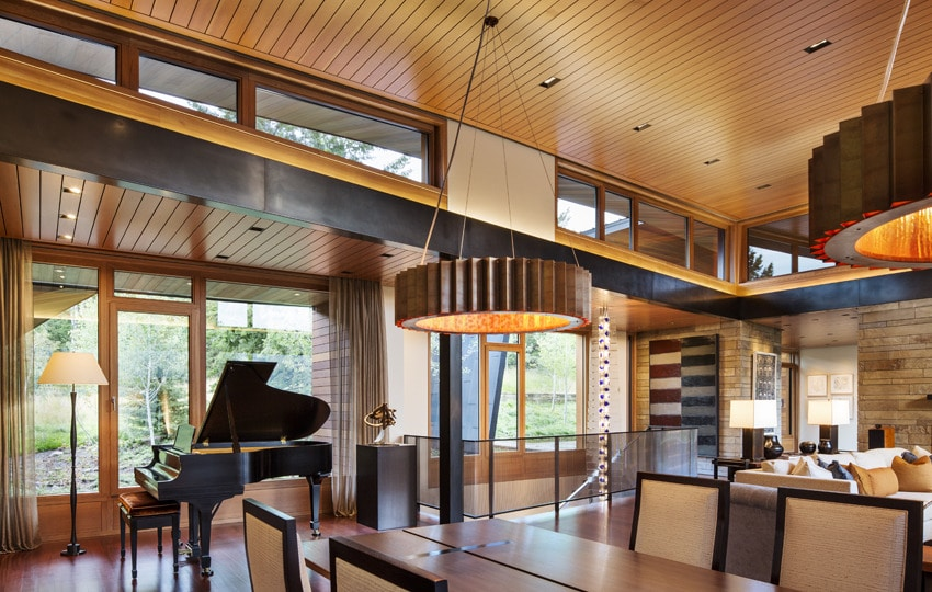 Dise o de moderna casa de campo en madera y piedra for Ver interiores de casas modernas