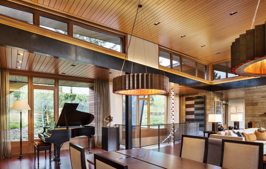 Dise o de moderna casa de campo en madera y piedra for Decoracion de viviendas modernas