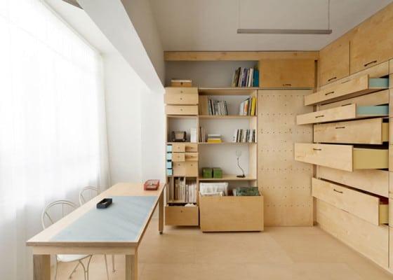 Diseño de módulo con muchos cajones para apartamento
