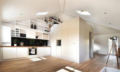 Diseño de mini departamento cocina y módulo