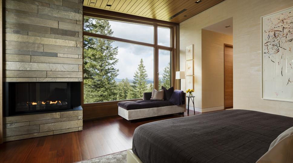 Dise o de moderna casa de campo en madera y piedra - Chimeneas de campo ...