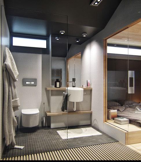 Diseño de moderno cuarto de baño en apartamento pequeño