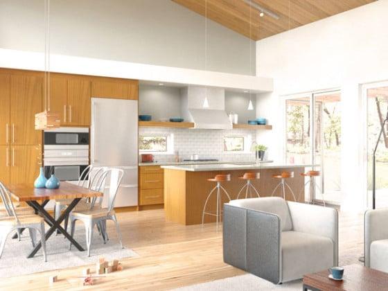 Diseño de sala comedor-cocina de casa prefabricada