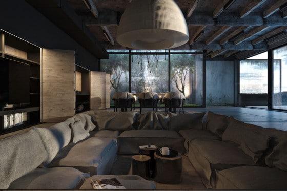 Diseño de sala comedor estilo industrial