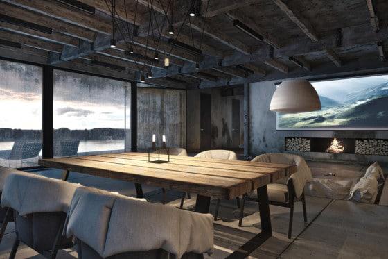 Diseño de sala estilo industrial, diseño de Igor Sirotov