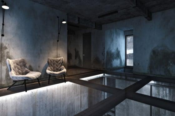 Diseño de sala industrial con pisos traslúcidos