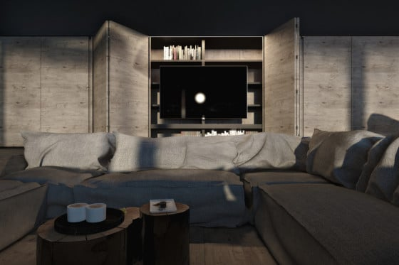 Diseño de sala rústica con troncos de mesa central