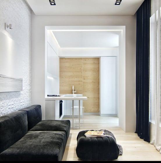 Diseño de sala y la cocina en pequeño apartamento