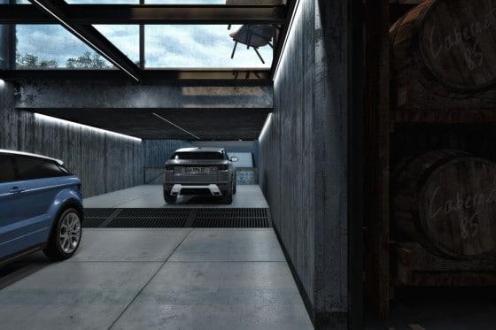 Diseño del estacionamiento en casa industrial