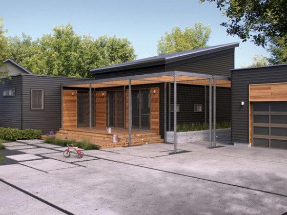 Fachada de casa de madera moderna de un piso