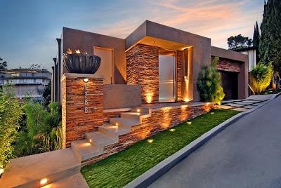 Dise o de una moderna casa de piedra con hormig n en la colina construye hogar - Piedras para fachadas de casas modernas ...