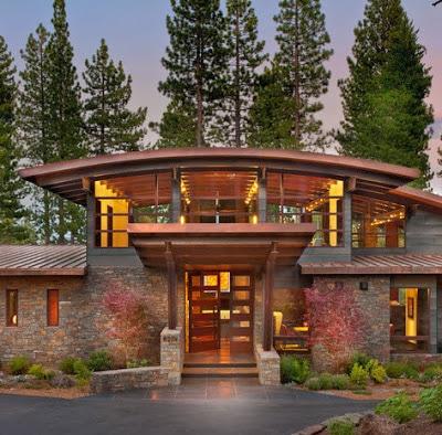 Fachadas de casas modernas en el campo dise os y estilos for Jardines exteriores de casas de campo