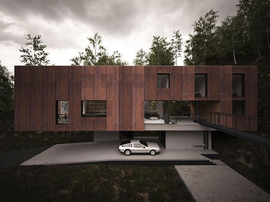 Dise o de moderna casa elevada por pilares fachada e for Casa moderna rectangular