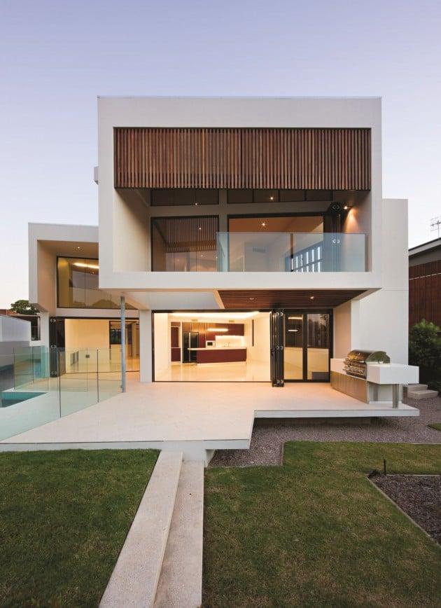 Dise o de moderna casa de dos pisos de hormig n incluye for Diseno de casa moderna de dos pisos fachada e interiores