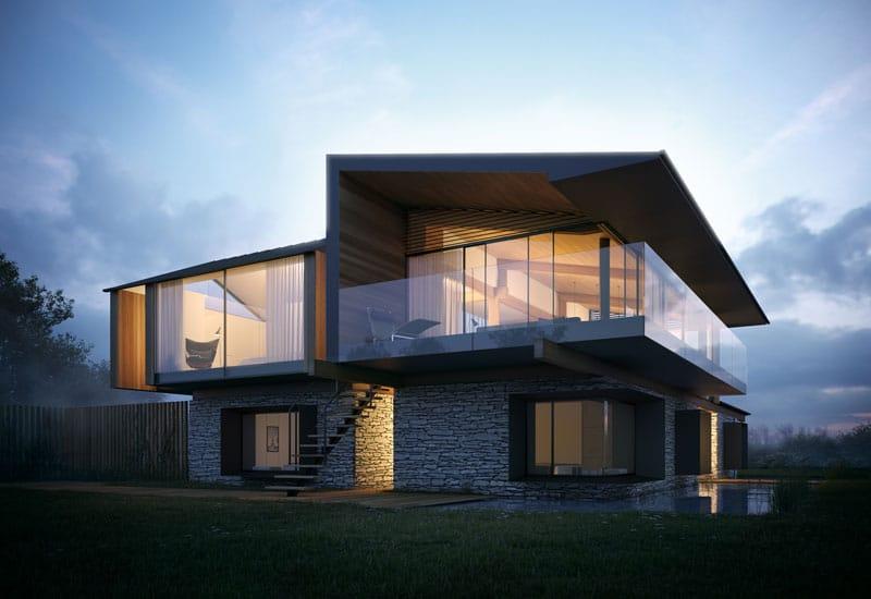 Dise o de casa moderna de 2 pisos y dise o de interiores for Diseno de casa sencilla