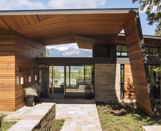 dise o de moderna casa de campo en madera y piedra