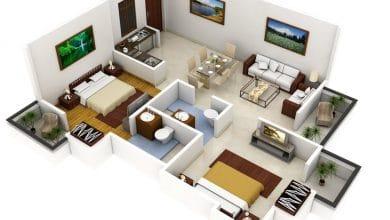 Photo of Plano 3D de casa con dos dormitorios