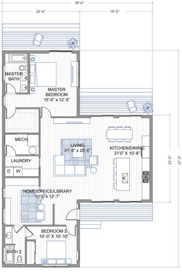 Planos de casa en forma de T de un piso con dos dormitorios