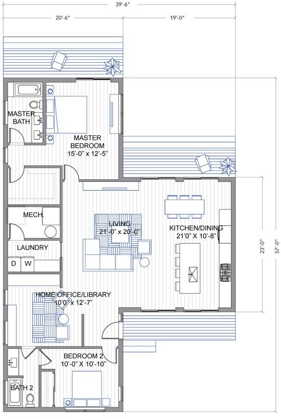 Dise o de casa moderna de un piso en forma de t Planos de dos dormitorios