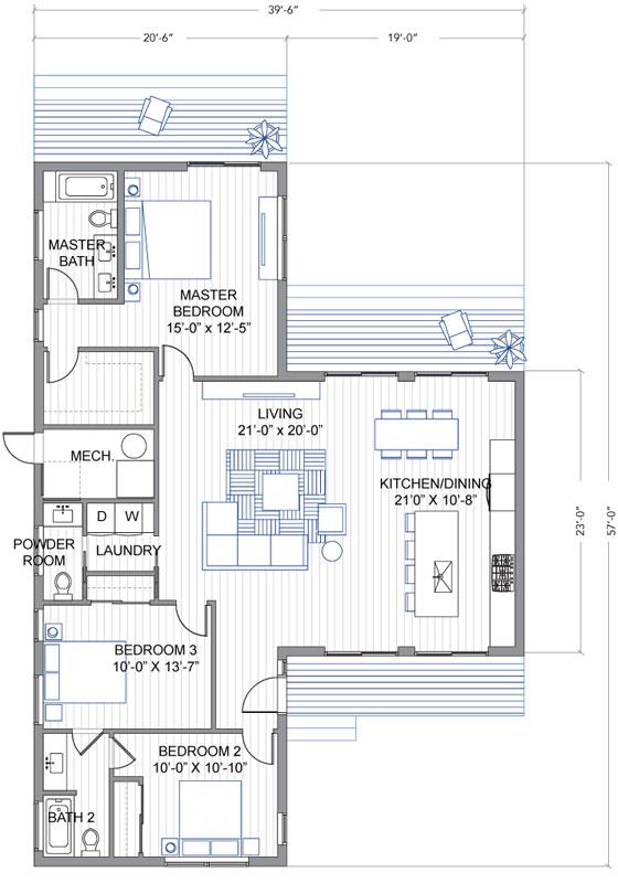 Dise o de casa moderna de un piso en forma de t for Plano de pieza cocina y bano