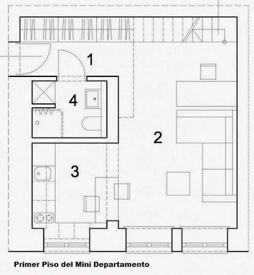 Dise o de departamento peque o de 29 metros cuadrados for Muebles para planos de casas