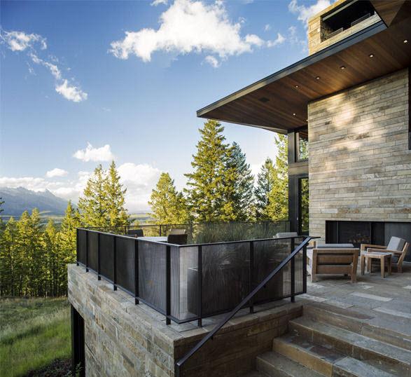 Dise o de moderna casa de campo en madera y piedra for Cubiertas modernas para terrazas