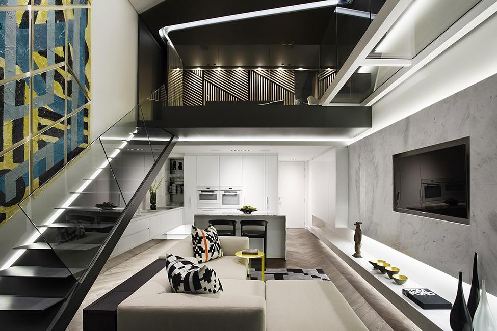 Dise o de minidepartamento moderno interiores elegante for Pisos interiores modernos