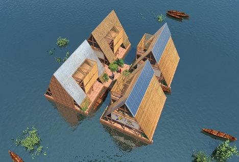 Casas sobre río