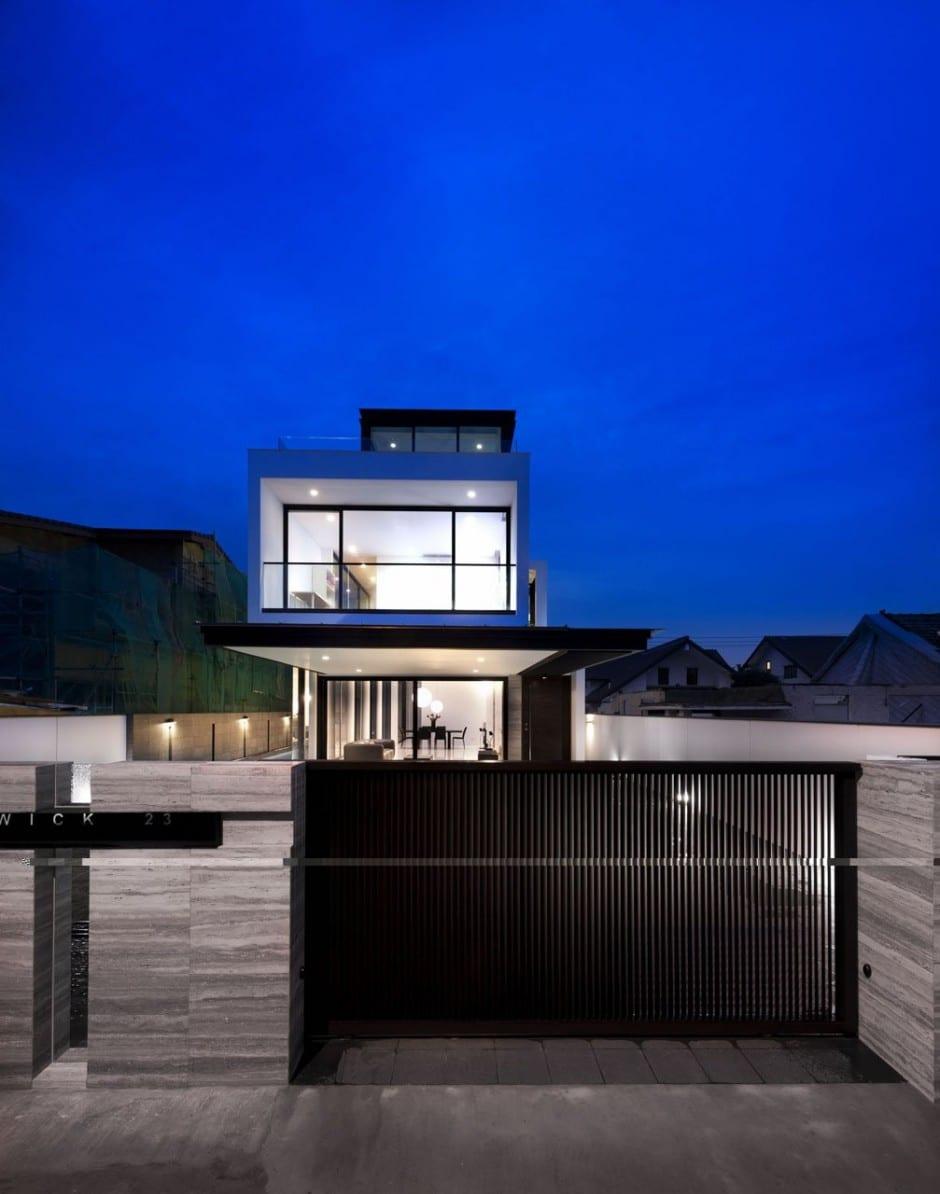 Plano de casa de dos pisos peque a fachada e interiores for Disenos minimalistas para casas pequenas