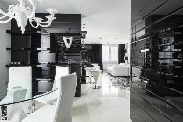 Dise o de moderno apartamento en color blanco y negro for Azulejo del comedor moderno
