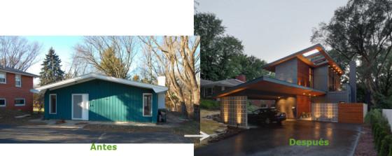 Construcción casa pequeña antes y después