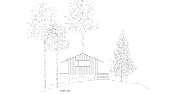 Dibujo de fachada 2 de casa de madera