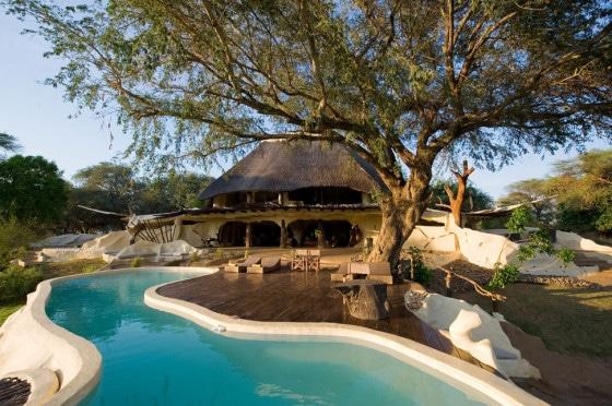 Diseño de casa rústica con piscina orgánica