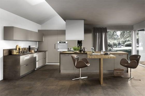 Diseño de cocina en color marrón