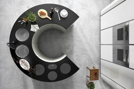 Forma ovalada de isla de cocina