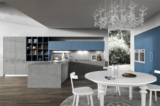 Diseño de cocina moderna con muebles de dos colores