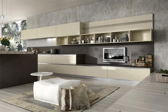 Diseño de cocina moderna con televisor