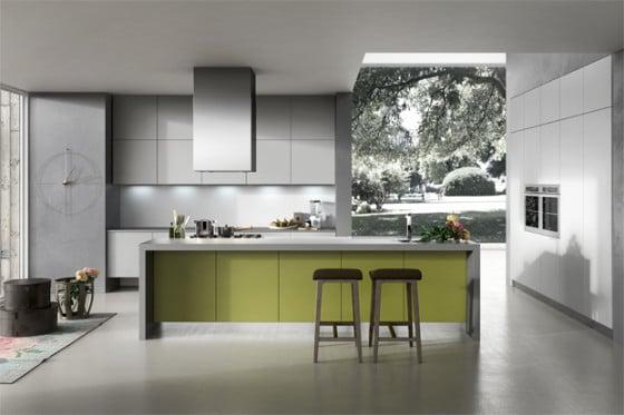Diseño de cocina  en color gris y verde