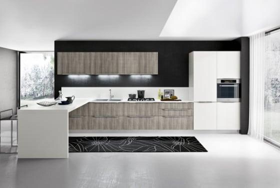 Diseño de cocina blanco y negro