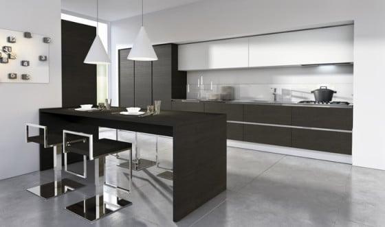 Diseño de cocina pequeña de color negro y blanco
