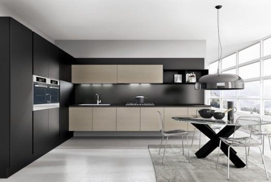Diseño de cocina exclusiva, mesa de vidrio y base x