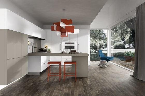 Diseño de cocina moderna lámpara roja