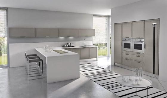 Diseño de cocina minimalista, blanco y beige