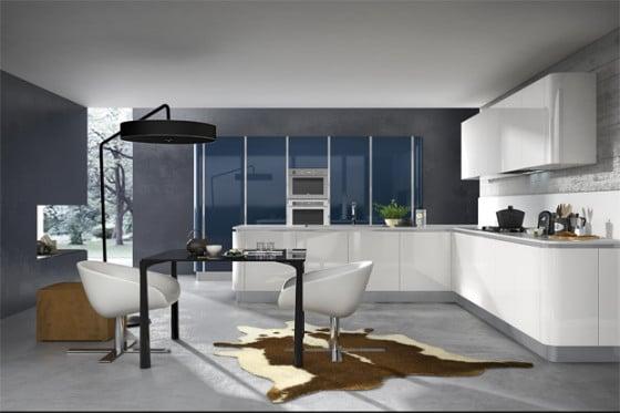 Cocina muebles blancos y pared gris